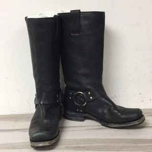 Frye Black Leather Harness Pull On Boot 8.5
